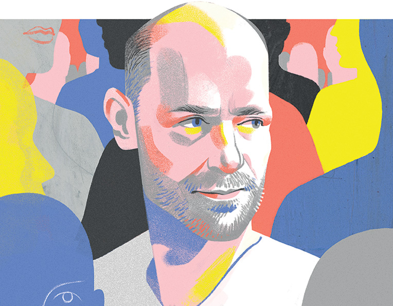 A portrait illustration of Canadian musician Gord Down by Cristian Fowlie
