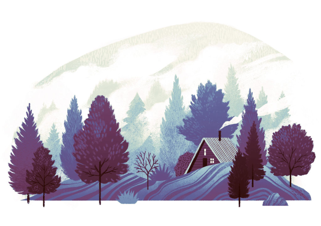 An illustration of a small cabin with a smoking chimney sits among a a forest and a foggy mountain peak.