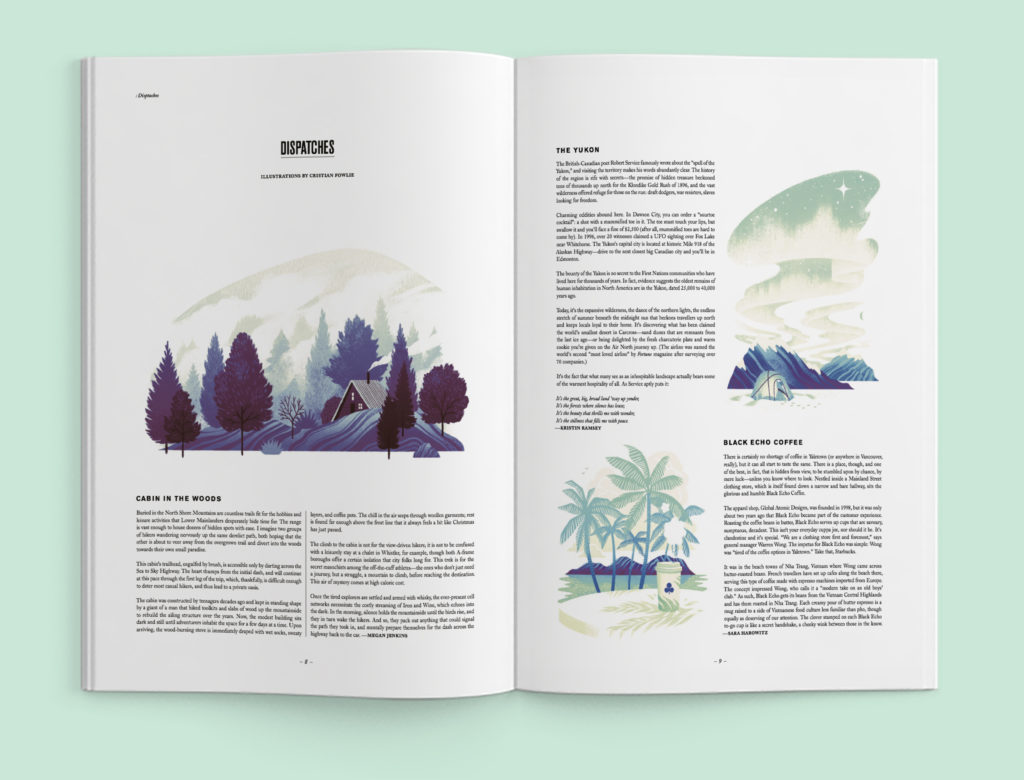 Mock up of print layout featuring 3 travel location spot illustrations.
