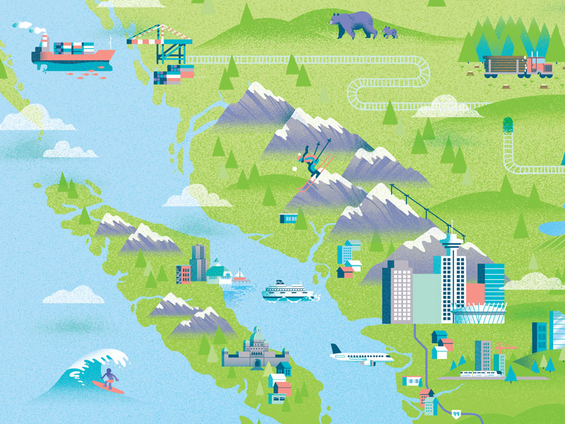An illustrated map of BC for The Future of BC Housing Report.