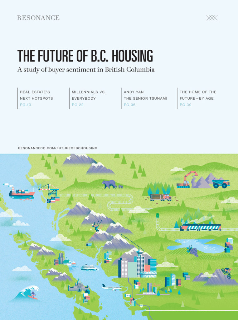 Cover of The Future of BC Housing Report featuring an illustrated map of BC