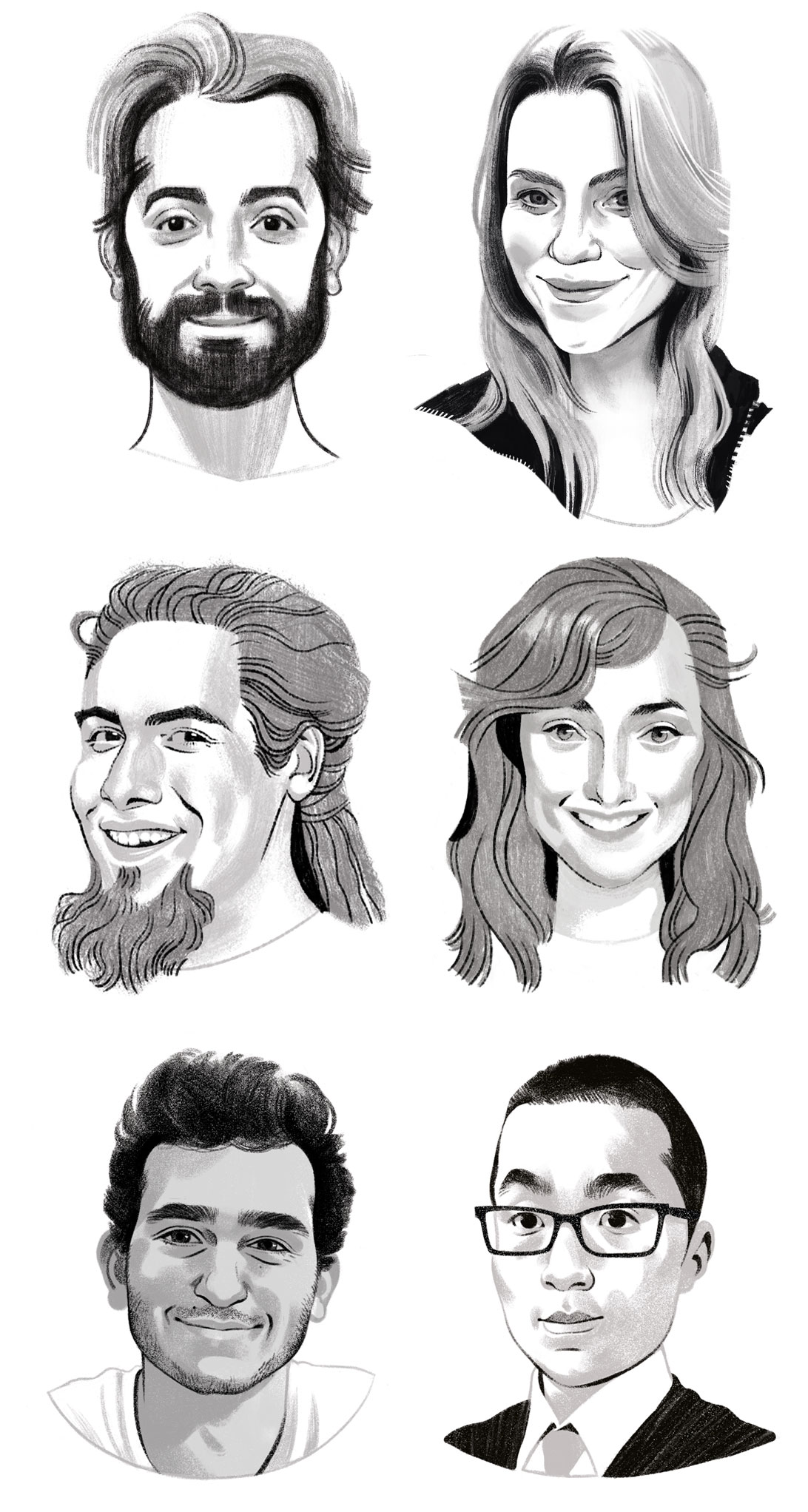 Black and white portrait illustrations for editorial, newspaper and publishing.