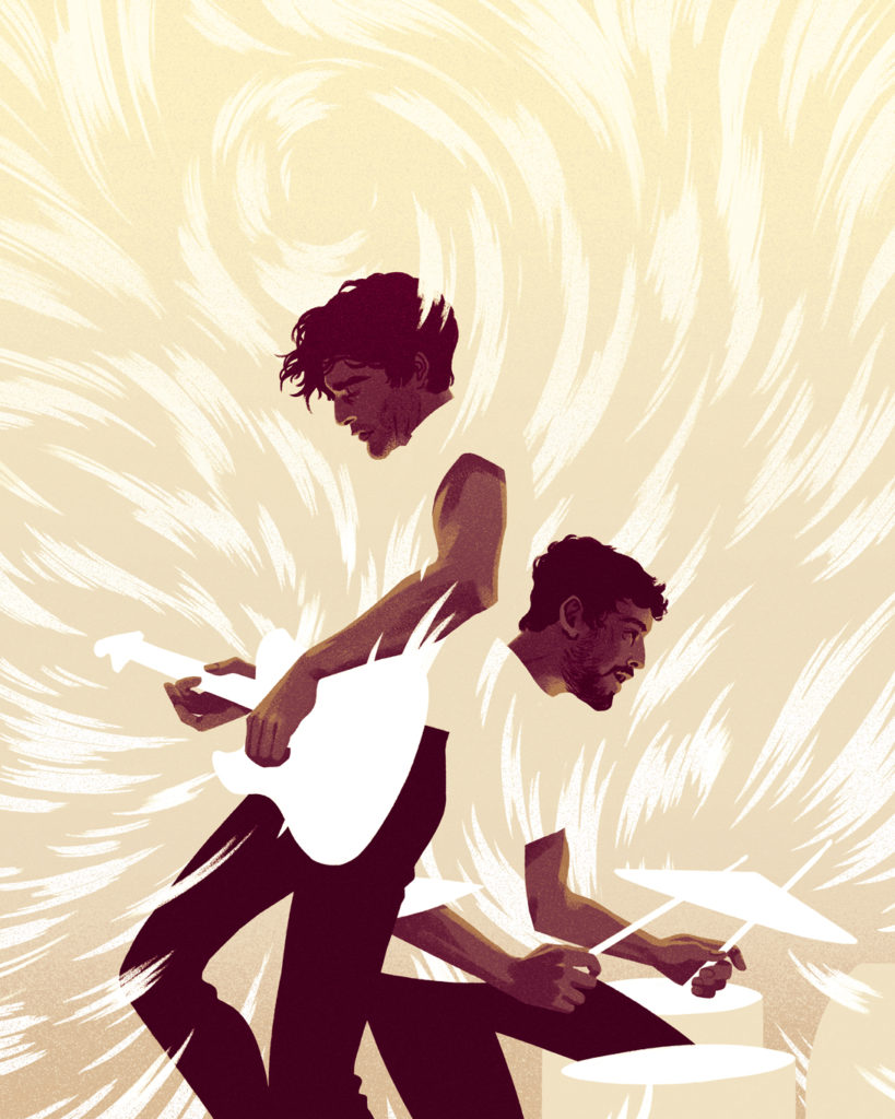 An illustration by Cristian Fowlie depicting Brian King and David Prowse of Canadian rock band Japandroids play guitar and drums in a flurry of energy and sound.