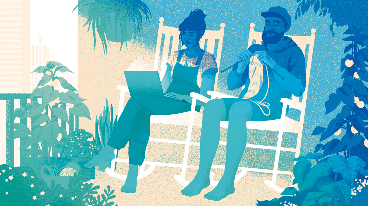 Editorial illustration by Cristian Fowlie for The Walrus of a happily retired young couple blogging and knitting on their balcony garden.