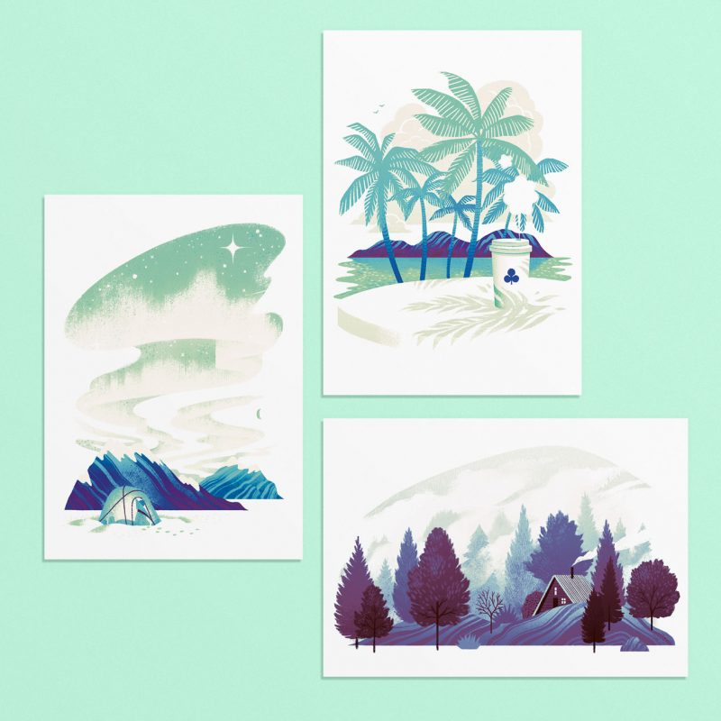 A set of three postcards with travel illustrations by Cristian Fowlie.