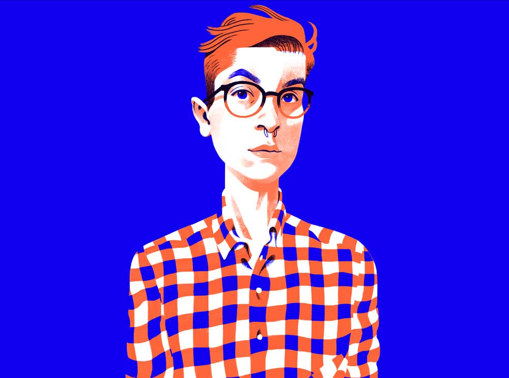 Digital self-portrait of Canadian illustrator Cristian Fowlie.