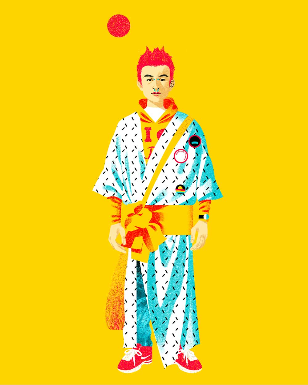 Digital fashion illustration of Japanese street style from Fruits.