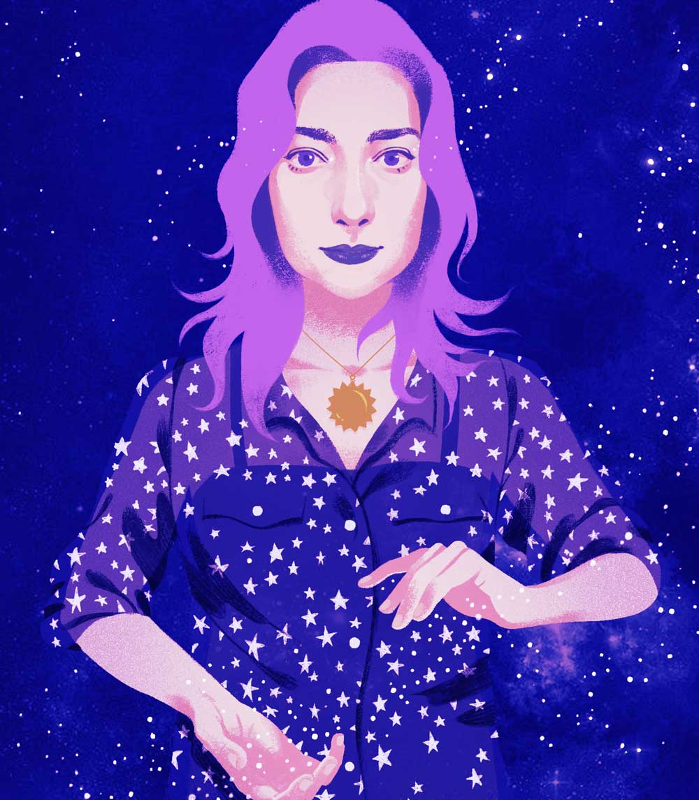 Digital illustration of Annie in a deep blue star shirt, moulding the constellations in her hands,