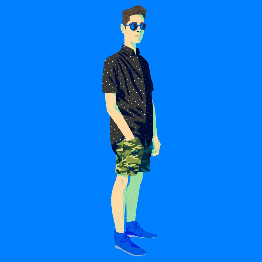Digital fashion illustration of illustrator Cristian Fowlie in his favourite outfit.