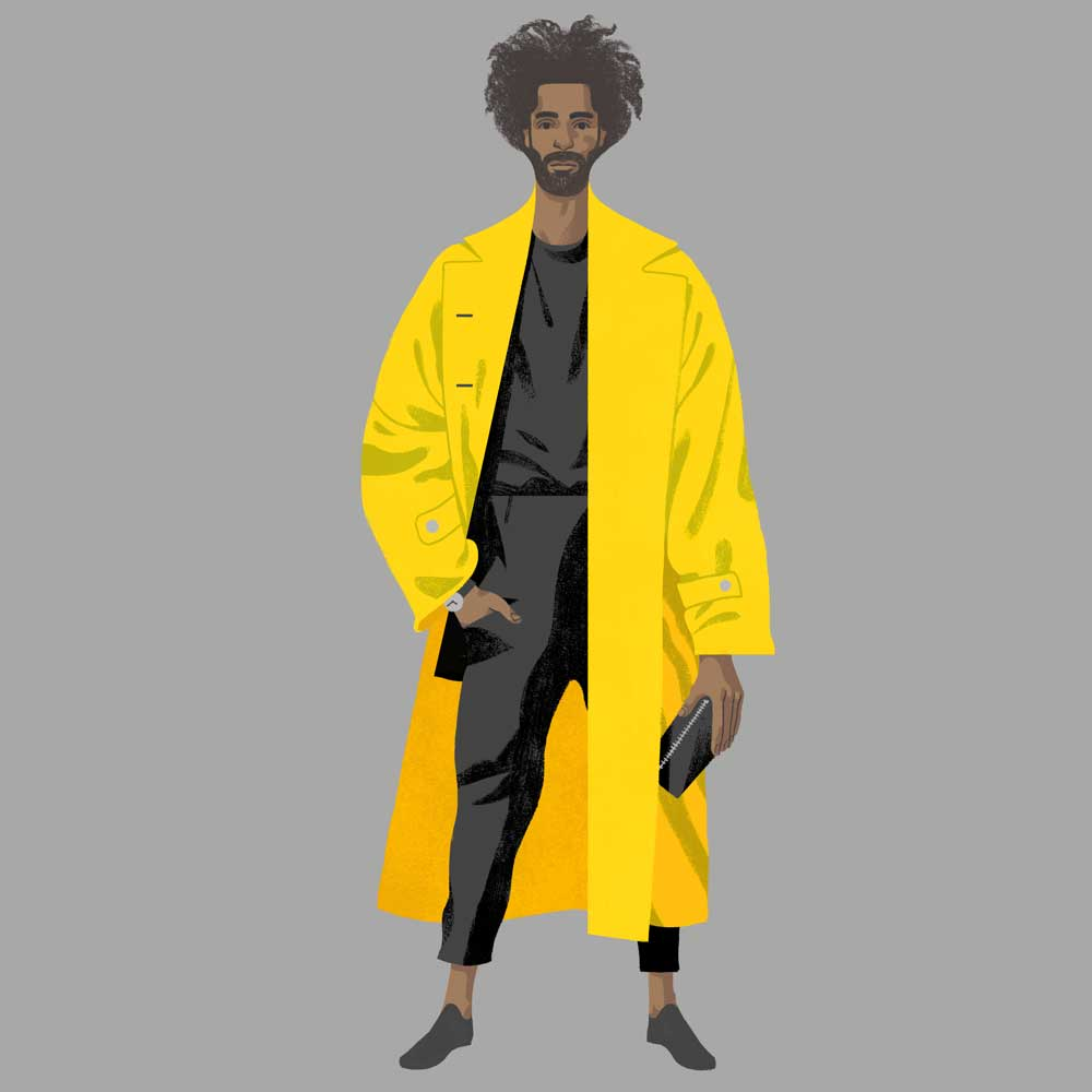 Digital fashion illustration of yellow jacket street style outfit,