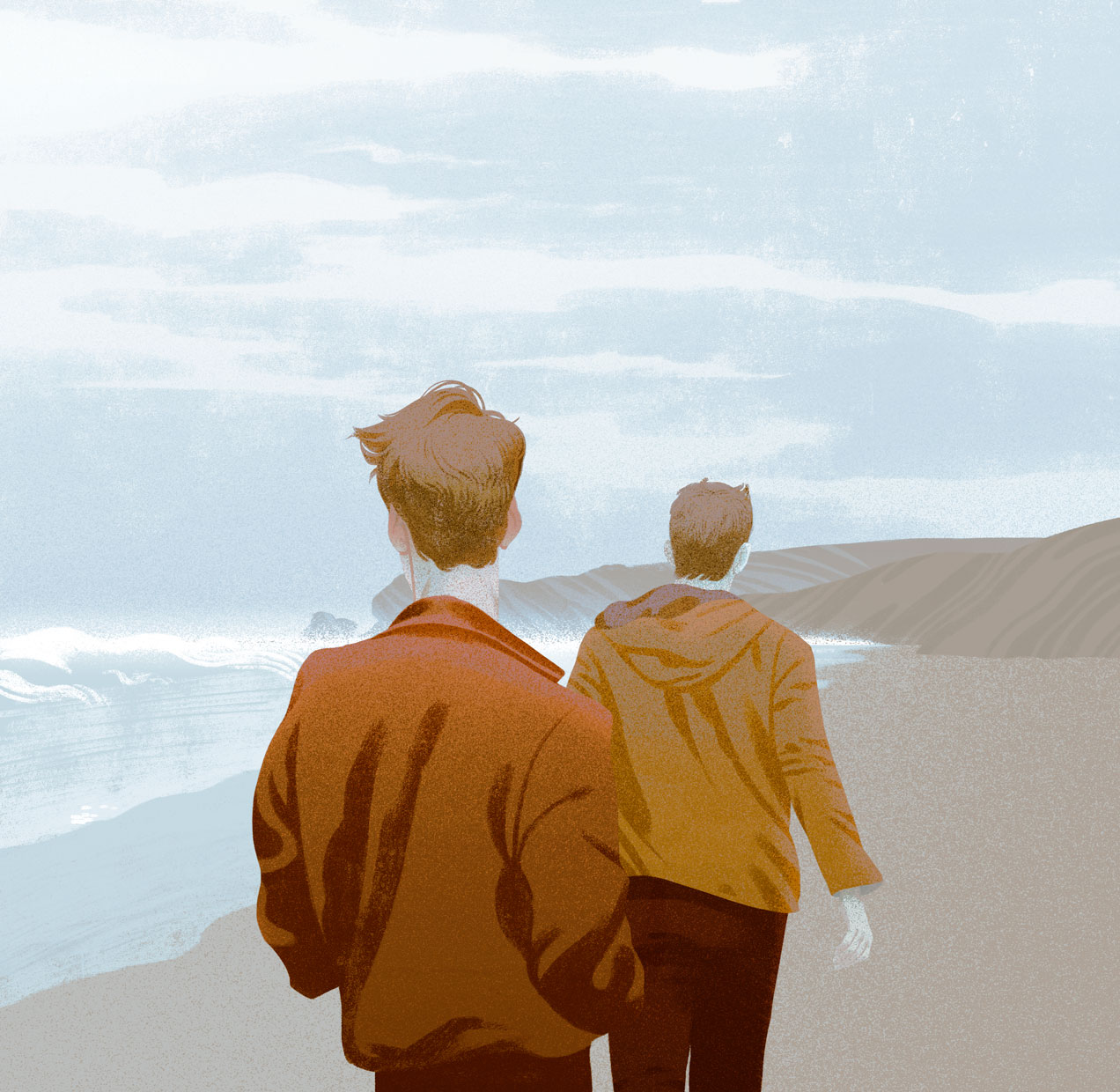 An illustration of two people walking along a seaside beach on an overcast day. Personal illustration by Canadian illustrator Cristian Fowlie.