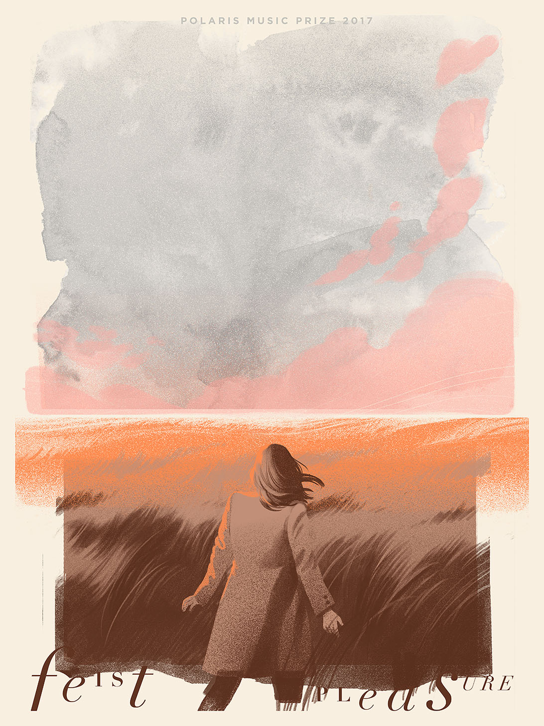 A concert poster for Feist depicts a woman walking through a wheat field toward a bright, colourful horizon line. Illustration by Cristian Fowlie for the Polaris Music Prize 2017.