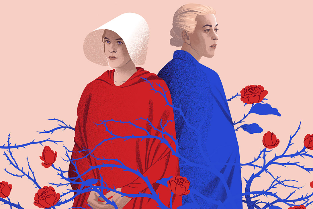 A colour illustration of Elizabeth Moss as Offred and Yvonne Strahovski as Serena in the TV adaptation of The Handmaid's Tale.