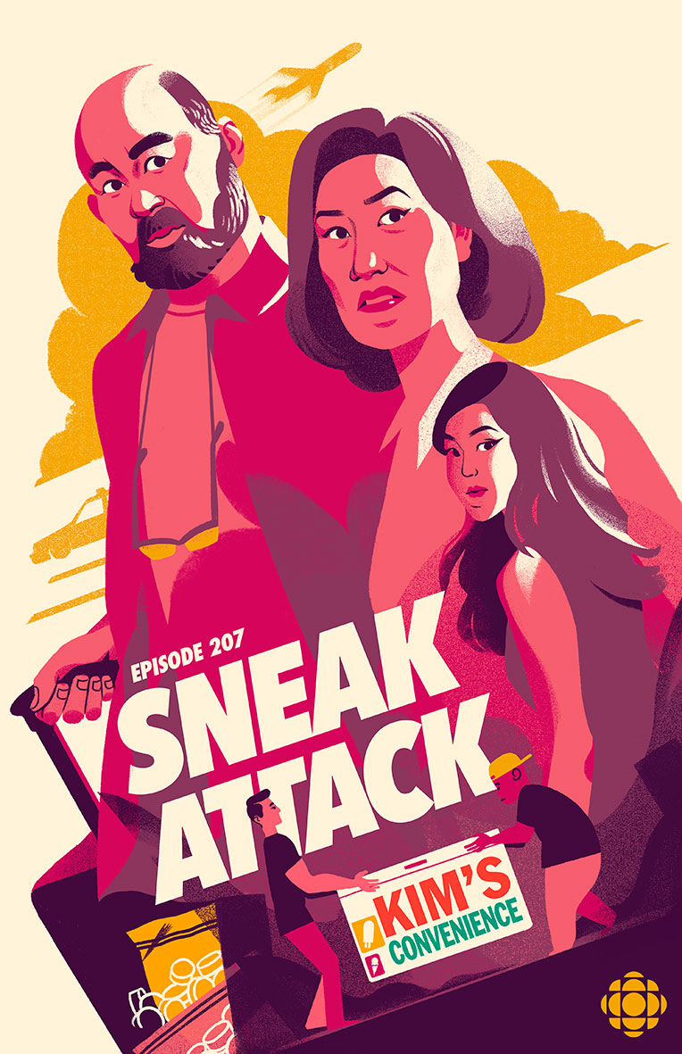An illustrated poster in the style of action movies depicts Appa, Umma, Janet, Jung and Kimchee of the CBC sitcom Kim's Convenience.