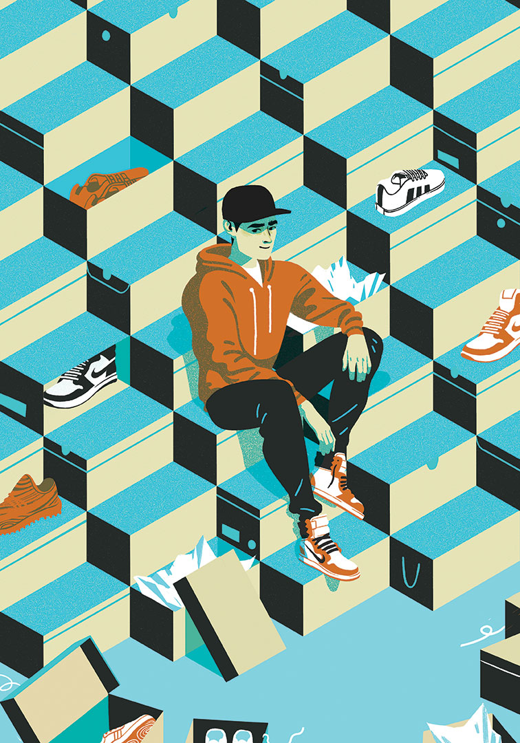 A young sneakerhead sitting on a massive pile of shoe boxes in this editorial illustration by Cristian Fowlie