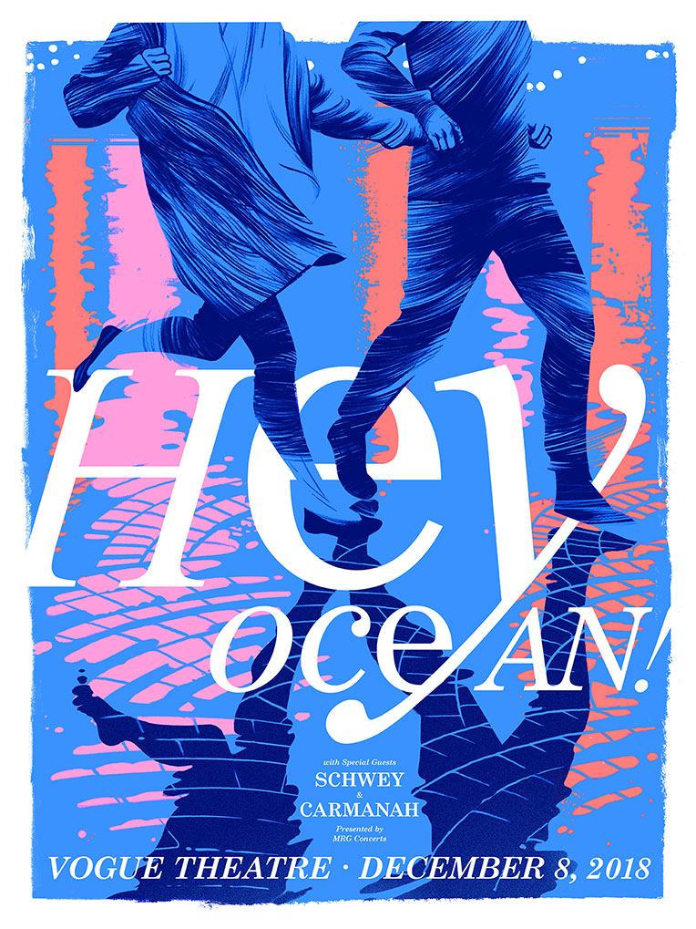 Two figures run across wet, rainy cobblestone on this concert poster by Cristian Fowlie for Hey Ocean! The Hurt of Happiness Tour