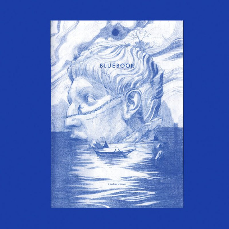 Cover of the Bluebook zine by Cristian Fowlie, containing sketches from an monochromatic blue sketchbook