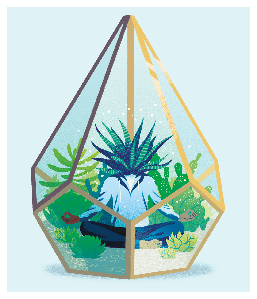 An illustration of a plant-headed person meditating in a lush succulent case.