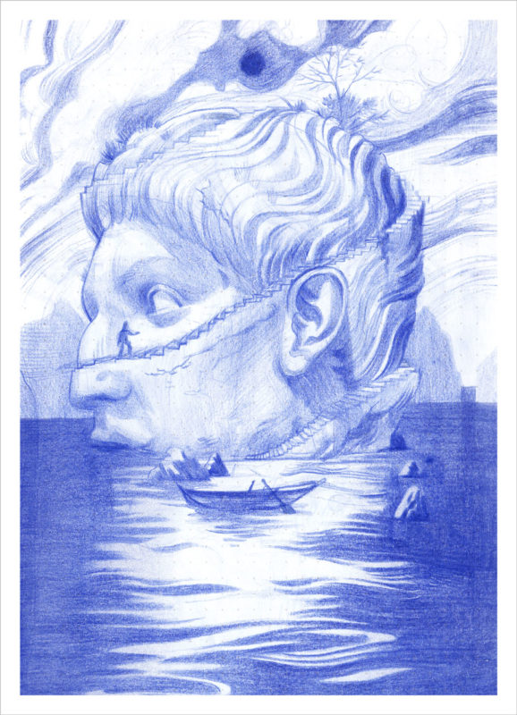 A monochromatic blue pencil sketch of a giant statue's head half-submerged in water. A small figure walks up the winding staircase that wraps around the head.